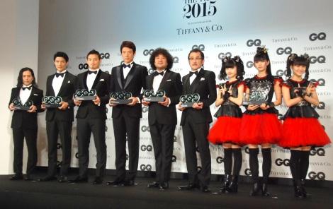 『GQ Men of the Year 2015』授賞式に出席した(左から)又吉直樹、鈴木亮平、五郎丸歩、松岡修造、葉加瀬太郎、吉田鋼太郎、BABYMETAL (C)ORICON NewS inc.