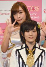 『KawaiianTV SUPER LIVE 2015』の囲み会見に出席したGALETTe・ののこ、山本彩 (C)ORICON NewS inc.