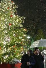 クリスマスツリーがきらめく夜の自由が丘をマツコ・デラックスとふかわりょうが徘徊するテレビ朝日系『夜の巷を徘徊する』は12月17日・24日に放送(C)テレビ朝日