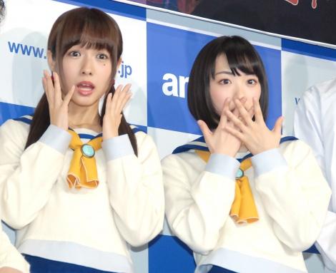 ホラー映画『コープスパーティー』取材会に出席した(左から)前田希美、生駒里奈 (C)ORICON NewS inc.