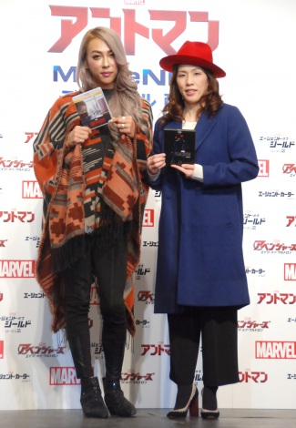 『アントマン』MovieNEX発売記念イベントに出席した(左から)GENKING、吉田沙保里 (C)ORICON NewS inc.