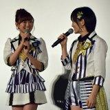 ドキュメンタリー映画『道頓堀よ、泣かせてくれ! DOCUMENTARY of NMB48』舞台あいさつに登壇した(左から)渡辺美優紀、山本彩 (C)ORICON NewS inc.