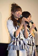 (左から)渡辺美優紀、山本彩=NMB48ドキュメンタリー映画『道頓堀よ、泣かせてくれ! DOCUMENTARY of NMB48』初日舞台あいさつ (C)ORICON NewS inc.