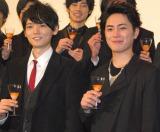 映画『ライチ☆光クラブ』の舞台あいさつに登壇した(左から)古川雄輝、間宮祥太朗 (C)ORICON NewS inc.