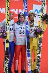 第1子女児誕生の翌日…W杯ジャンプ男子札幌大会で3位に輝いた葛西選手(写真:土屋ホーム)