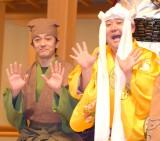 『現代狂言X 〜狂言とコントが結婚したら〜』記者会見に出席した(左から)大野泰広、ドロンズ石本 (C)ORICON NewS inc.