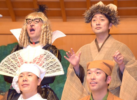 『現代狂言X 〜狂言とコントが結婚したら〜』記者会見に出席した(左から)岩井ジュニ男、三浦祐介 (C)ORICON NewS inc.