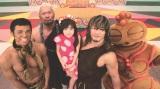 『映画ドラえもん 新・のび太の日本誕生』(3月5日公開)のスペシャル応援団、ウンタカ!ドラドラ団のCDデビューが決定(左から)小島よしお、真壁刀義、エヴァちゃん、棚橋弘至