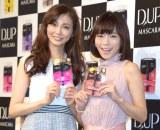 『ティーアップマスカラ』の新CM発表会に出席した(左から)押切もえ、釈由美子 (C)ORICON NewS inc.