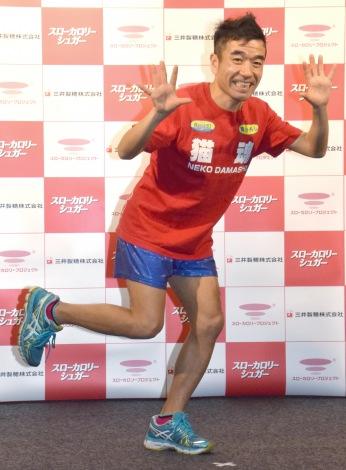 """マラソンスタイルで登場した猫ひろし=『東京マラソン2016 EXPO』内トークイベント『猫式""""マラソンコンディショニング""""実践法』 (C)ORICON NewS inc."""