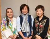東日本大震災孤児・遺児支援公演で石巻の子ども合唱団と共演する(左から)湯川れい子氏、つんく♂、クミコ