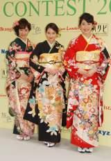 着物コンテスト『きものクイーンコンテスト2016』に出席した(左から)花岡なつみ、河北麻友子、小澤奈々花 (C)ORICON NewS inc.