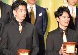 映画『殿、利息でござる!』完成披露舞台あいさつに出席した(左から)瑛太、妻夫木聡 (C)oricon ME inc.