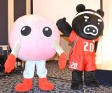 『2016 リオデジャネイロオリンピック バレーボール世界最終予選』制作発表に登場した(左から)バボちゃん、バレブー(C)ORICON NewS inc.