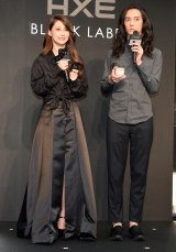 オリジナルファッションレーベル『AXE BLACK LABEL』プレスプレビュー に登場した(左から)ダレノガレ明美、栗原類 (C)ORICON NewS inc.