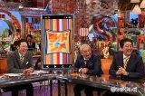 安倍晋三首相がフジテレビ系『ワイドナショー』に初出演(左から)東野幸治、松本人志、安倍首相