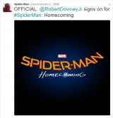 SPIDER-MANの公式twitter画面