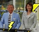 (左から)みのもんた、下平さやか=AbemaTV『みのもんたのよるバズ!』初回収録前の取材会 (C)ORICON NewS inc.