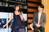 名古屋市内で開催されたdTVオリジナルドラマ『テラフォーマーズ/新たなる希望』配信記念イベントに出演した篠田麻里子と菅谷哲也