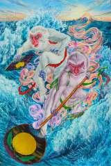 ツアー紋章(エンブレム)『双猿、虹を架ける』(岡本瑛里氏・画)