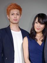 映画『少女椿』の初日舞台あいさつに出席した(左から)佐伯大地、森野美咲 (C)ORICON NewS inc.