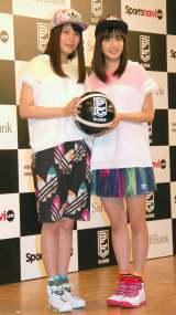 男子バスケットボール『B.LEAGUE』開幕日・対戦カード発表会見に出席した(左から)広瀬アリス&広瀬すず姉妹