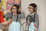 キュートな4歳の双子の女児・りんかちゃん&あんなちゃん。ベビーバードの声を担当する。=アニメーション映画『アングリーバード』公開収録イベント