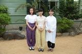 10月3日スタートの平成28年度後期連続テレビ小説『べっぴんさん』のクランクインを迎えた(左から)蓮佛美沙子、芳根京子、谷村美月 (C)NHK