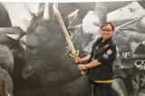 新宿駅の『ドラクエ』巨大黒板アートに一太刀を入れた、ゲームデザイナーの堀井雄二氏 (C)ORICON NewS inc.