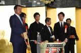 (左から)原辰徳・前ジャイアンツ監督、秋元康氏、中村宗生、佐藤可士和氏=中村橋之助ら父子4人の同時襲名を祝う会の模様