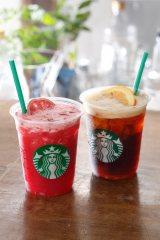 『シェイクン ストロベリー パッションティー』と『シェイクン アイス バレンシア コーヒー』(右)が新登場