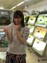 パリ唯一の爬虫類ショップでヘビを首に巻き満面の笑みを浮かべる西野七瀬)