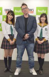 日米共同製作によるHuluオリジナルドラマ『CROW'S BLOOD』が7月末より配信(左から)HKT48・宮脇咲良、製作総指揮のダーレン・リン・バウズマン、AKB48の渡辺麻友 (C)ORICON NewS inc.