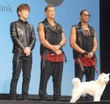 ソフトバンク新CM発表会に出席した(左から)岩田剛典、関口メンディー、ダンテ・カーヴァー (C)ORICON NewS inc.