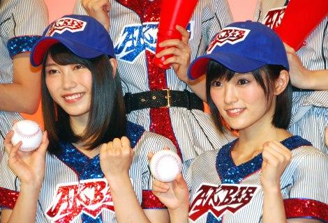 AKB48高校野球選抜のWセンターを務める(左から)横山由依、山本彩 (C)ORICON NewS inc.