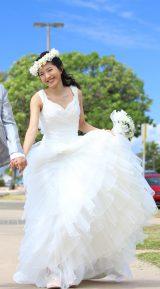 今年3月のハワイ旅行時に撮影した結婚前のウエディングドレス姿