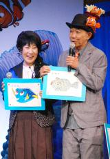 魚のイラストを披露=映画『ファインディング・ドリー』監督来日記者会見イベントの模様 (C)ORICON NewS inc.