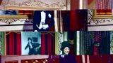 美空ひばりの映画映像にあわせた衣装を着用する森(C)テレビ朝日