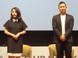 『F×G VR WORKS』VR体験記者発表会に出席した(左から)椎木里佳氏、前園真聖氏 (C)ORICON NewS inc.