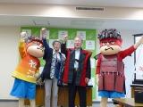 島根・松江市内で行われた会見の模様(左から)FROGMAN、松浦正敬市長