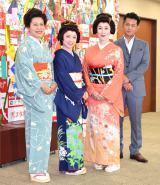 舞台『雪まろげ』製作発表会見に出席した(左から)青木さやか、榊原郁恵、高畑淳子、的場浩司 (C)ORICON NewS inc.