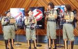 映画『ゴーストバスターズ』の公開アフレコイベントに参加した渡辺直美、友近、山崎静代(南海キャンディーズ)、椿鬼奴(左から)