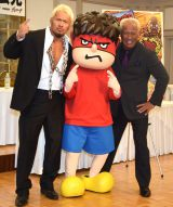 (左から)真壁刀義選手、吉田くん、本間朋晃選手=『新日本プロレスの真夏の最強決定戦「G1 CLIMAX」』記者会見 (C)ORICON NewS inc.