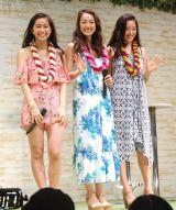 リゾートウェアを着て登場した(左から)大見謝葉月、神田咲実、斎藤夏美 (C)ORICON NewS inc.