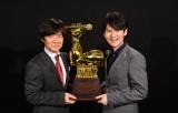 年末に放送される日本テレビ系『全日本歌唱力選手権「歌唱王」』のMCに決定したウッチャンナンチャン(左から)内村光良、南原清隆 (C)日本テレビ