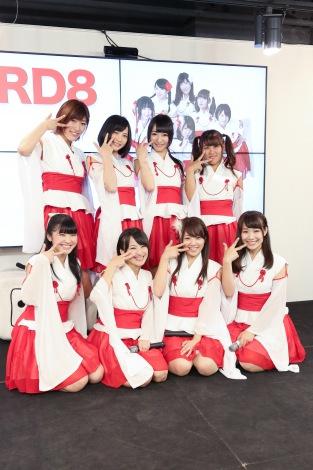 メジャーデビューが決定したKRD8(前列左から)高本翔奈、三角笑里、日下部早紀、桃華りさ、(後列左から)横田萌、宮脇愛、宮脇舞依、巽希