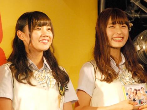 NMB48新曲「僕はいない」発売記念イベントに出演した(左から)薮下柊、渋谷凪咲 (C)ORICON NewS inc.