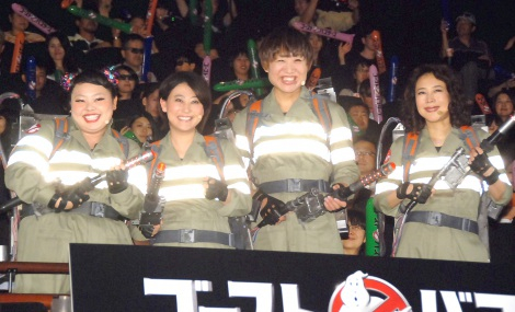 映画『ゴーストバスターズ』日本語吹き替え版3D特別上映会に出席した(左から)渡辺直美、友近、しずちゃん、椿鬼奴(C)ORICON NewS inc.