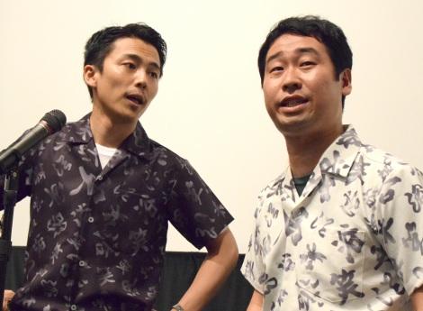 漫才を披露=映画『エミアビのはじまりとはじまり』プレミア上映会 (C)ORICON NewS inc.