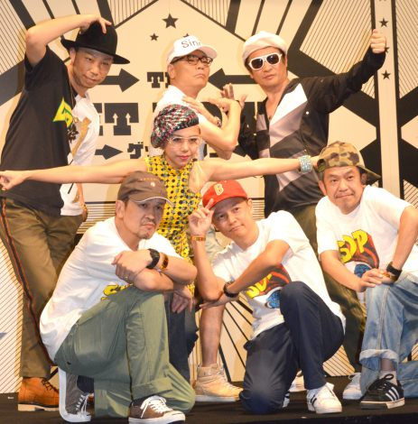 (後列左から) EXILE・USA、いとうせいこう、高木完、(中列)DJ SARASA、(前列左から)スチャダラパー・ANI、BOSE、SHINCO=NETFLIXオリジナルドラマ『ゲットダウン』イベント(C)ORICON NewS inc.